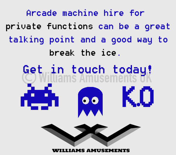 Arcade machine hire for private functions - Williams Amusements